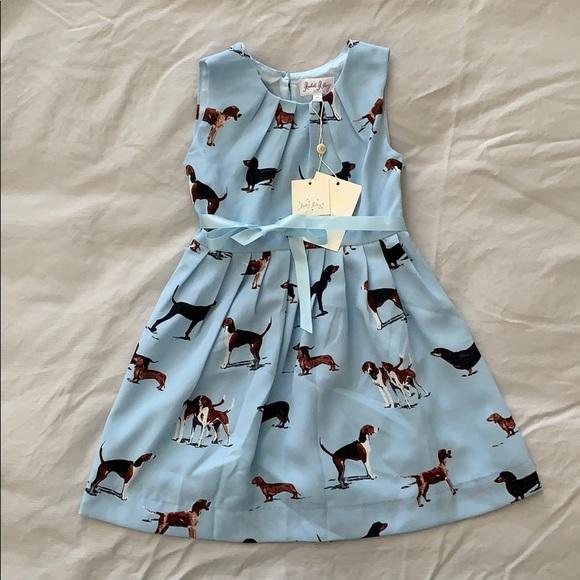 Rachel Riley Dresses Baby Blue Dog Girls Dress Poshmark